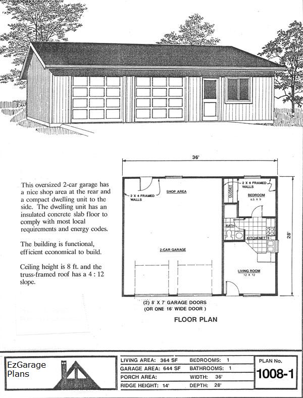 Garage apartment plans 1 car garage apartment plan on 2 for Garage plans with apartment on top