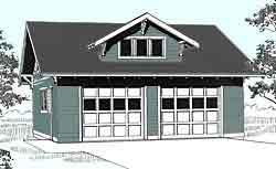 Craftsman style 2 car garage, reverse gable roof with dormer
