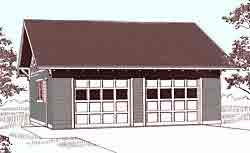 Craftsman style 2 car garage with reverse gable roof